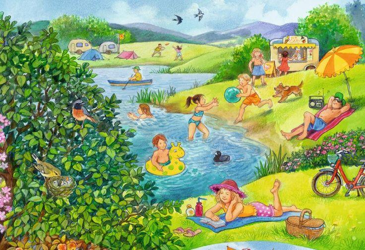 Puzzle mit Sommer, Baden und Camping