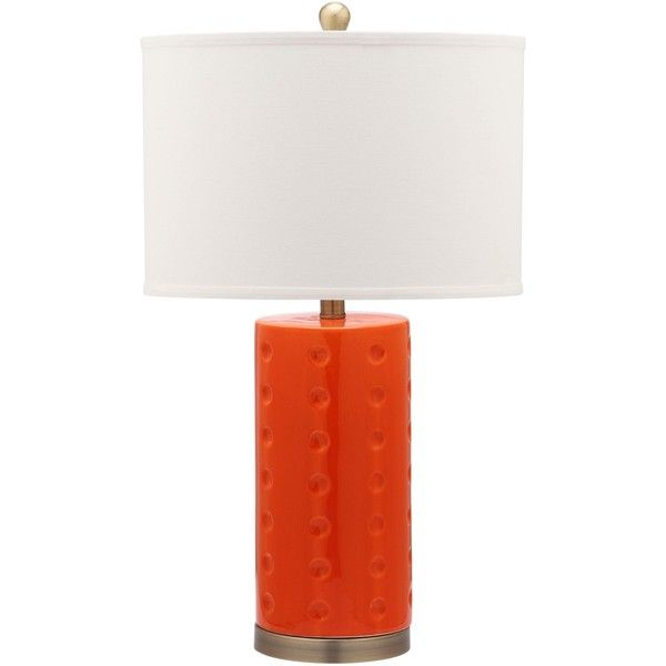 Safavieh Lighting 26-inch Orange Roxanne Table Lamp ($114) ❤ liked on Polyvore featuring home, lighting, table lamps, polka dot lamp shade, bronze lampshade, orange lamp shade, orange table lamp and bronze lamp shade
