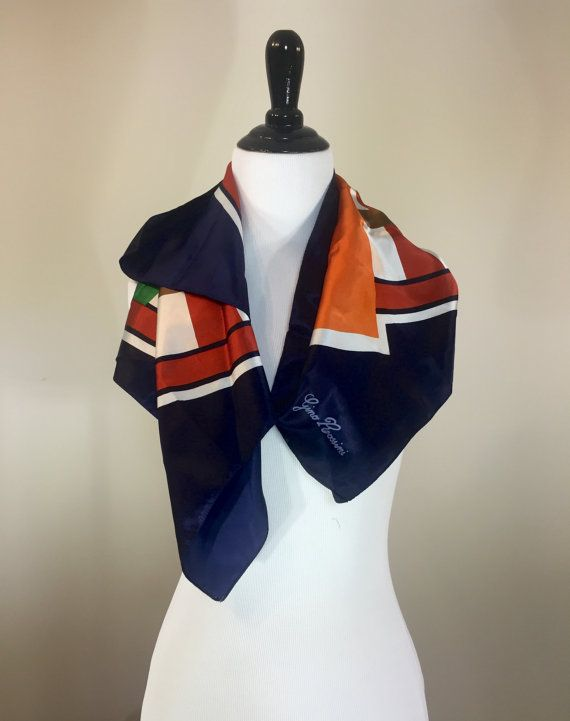 Vintage Gino Rossini Geometric Print Scarf by BirchEdenVintage