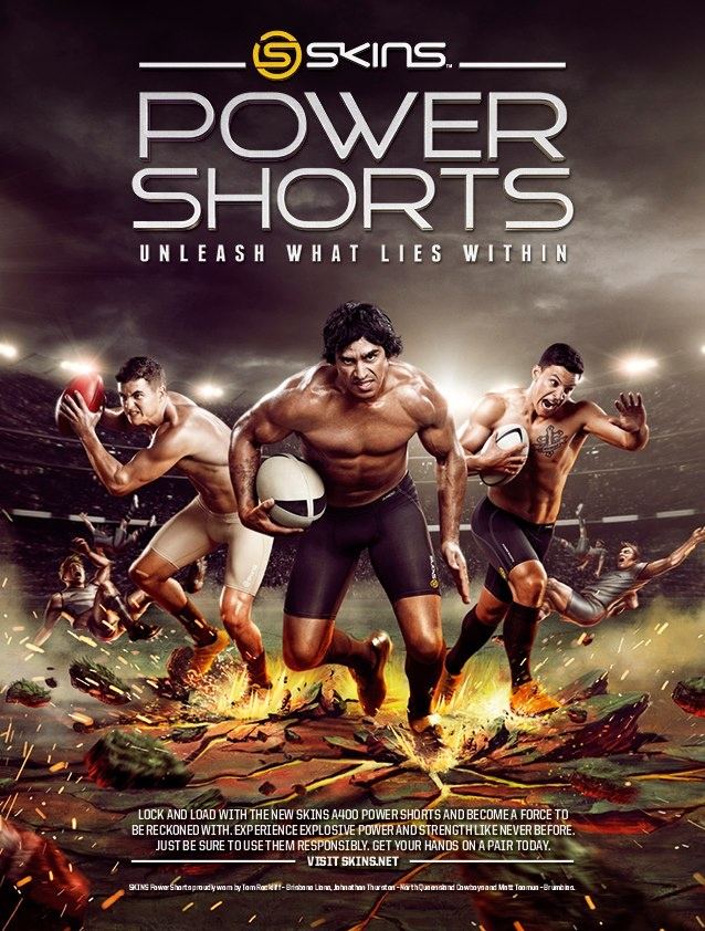 BREAKING NEWS! SKINS NEW A400 Power Shorts are here! Check out our fierce campaign featuring the Cowboy's Johnathan Thurston, Brumbie's Matt Tooma and Brisbane Lion's Tom Rockliff!