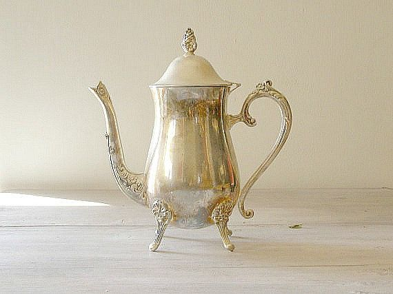 Silverplated Teapot Vintage Tea Kettle by MeshuMaSH on Etsy