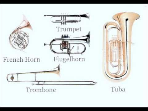 Instrument Families video string -1:06 woodwind 1:07-1:33; brass 1:34-2:01; percussion 2:02-2:34