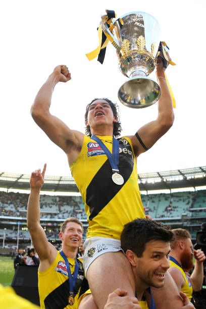 Daniel Rioli of the Tigers celebrates winning the 2017 AFL Grand Final match between the Adelaide Crows and the Richmond Tigers at Melbourne Cricket...