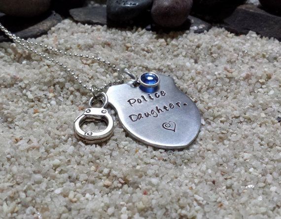 Police Daughter Necklace, Personalized Hand Stamped Police Officer Necklace, Trooper, Deputy, Sheriff, Perfect for Mom or Dad's Little Girl on Etsy, $24.00