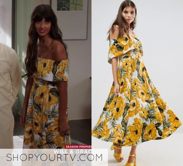 """by Kirsty0 Comments Tahani Al-Jamil (Jameela Jamil) wears this yellow flower printed off shoulder maxi dress in this episode of The Good Place, """"Dance Dance Resolution"""". It is the ASOS Golden Floral Bardot Midi Dress."""