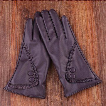 Women Ladies PU Leather Screen Touch Windproof Gloves Velvet Lining Outdoor Mittens at Banggood