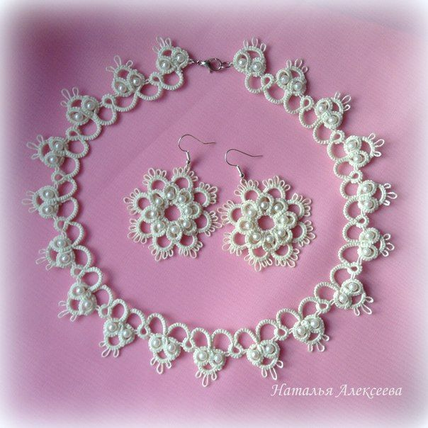 Для самых романтичных невест нежные свадебные кружевные украшения в технике фриволите!... фото #4