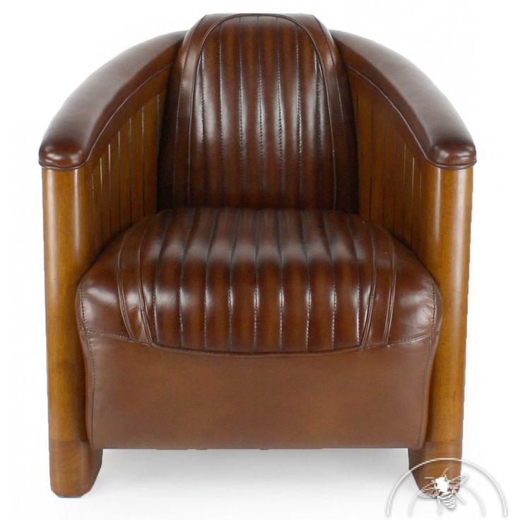 Fauteuil club cuir marron vintage - La Pérouse