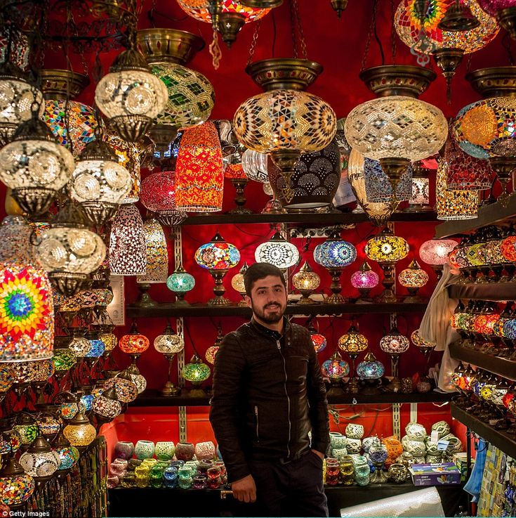 Dogan Mert's shop sells artistic lamps and lanterns with traditional Turkish design...