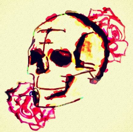 This design is definitely in the favorites. Being a sketch up of two red/ pink roses images surrounding a skull, this edited and colours pencil sketch, that has been put through an oil paint based editing filter - it's a favorite because this is such a simple piece and yet it has the capacity to fill a room with light, colour and fun!!