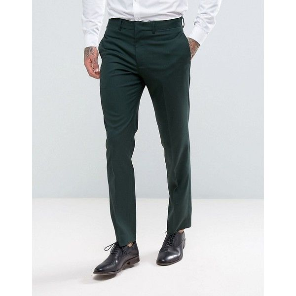 ASOS Slim Suit Trousers In Green ($41) ❤ liked on Polyvore featuring men's fashion, men's clothing, men's pants, men's dress pants, green, mens slim dress pants, mens slim fit suit pants, mens slim fit dress pants, mens zip off pants and mens polyester pants