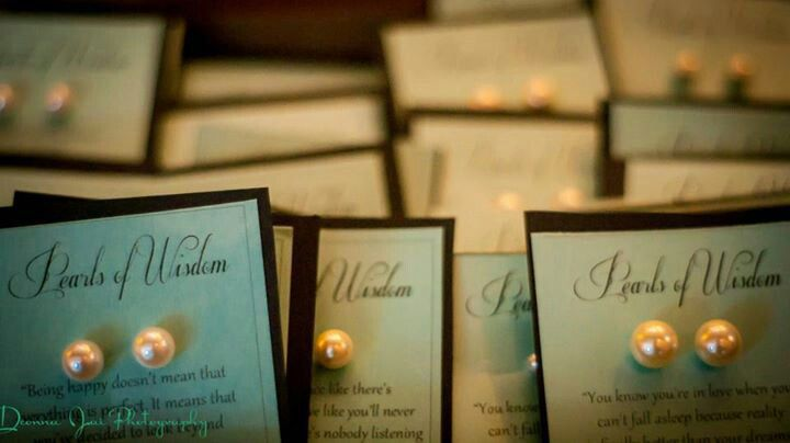 Tiffany & Co. Inspired Bridal Shower. We gave away faux pearl earrings as favors and made our own earring holder cards