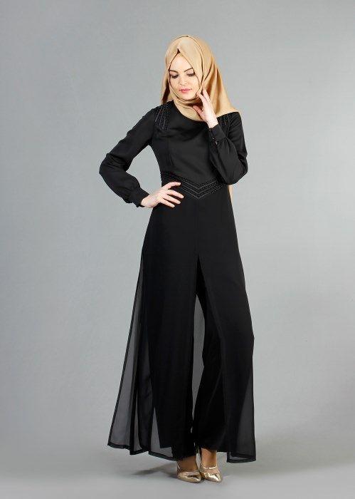 T 52413 Fy Collection-Boncuk İşlemeli Pantolonlu Abiye Tulum - Siyah - Trend Tesettür