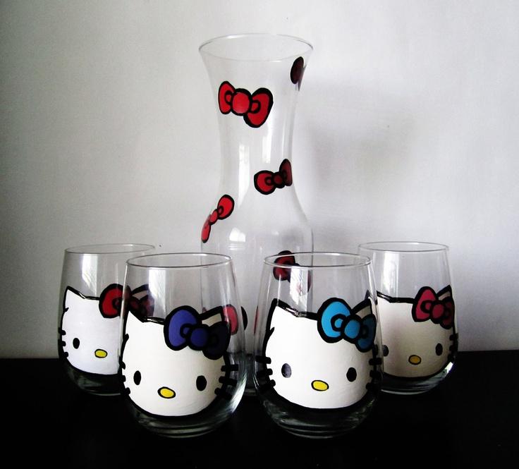 Hello Kitty Stemless wine set