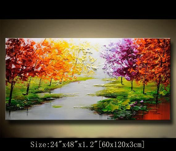 Contemporary Wall Art Palette Knife Painting Colorful Landscape Painting Wall Decor Home Decor Acrylic Textured Painting On Canvas Chen 0422 Colorful Landscape Paintings Abstract Wall Painting Texture Painting On Canvas