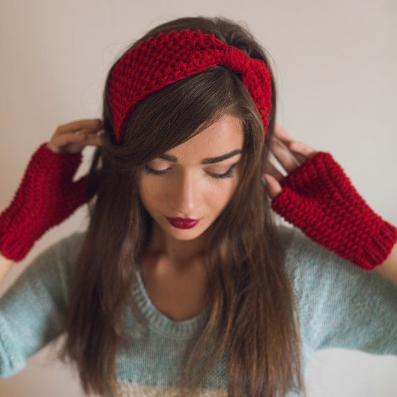 Red / Blue or Custom Color Hand Knit Headband, Womens Ear Warmer, Chunky Wool Headband, Warm Winter or Spring / Fall Turban
