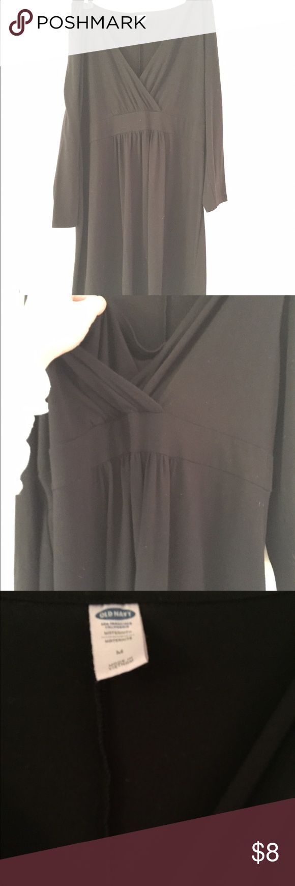 Black old navy maternity nursing dress Great essential piece for pregnancy and maternity these nursing top styles make it so much easier to breastfeed in public. Dress color looks good in person the pictures make color look a little dingy by the dress does not it's the camera. Excellent used condition. Old Navy Dresses Midi