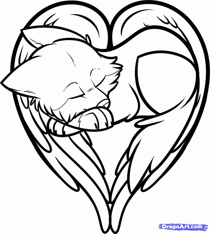 cool coloring hearts | how to draw a heart shaped wolf ...