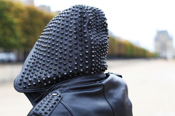 How amazing is this studded leather hood?! I'm obsessed!