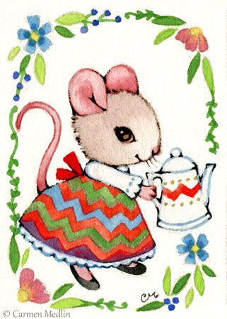 """Chevron Dress"" cute folk mouse art by Carmen Medlin. 5x7"" print, $5.25"