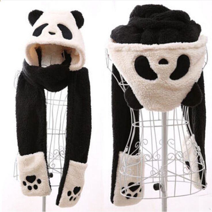 Wintermütze Schal Handschuh 3 Kits weibliche Baumwolle warme Frauen schöne Panda Deer …   – Kläder tillbehör