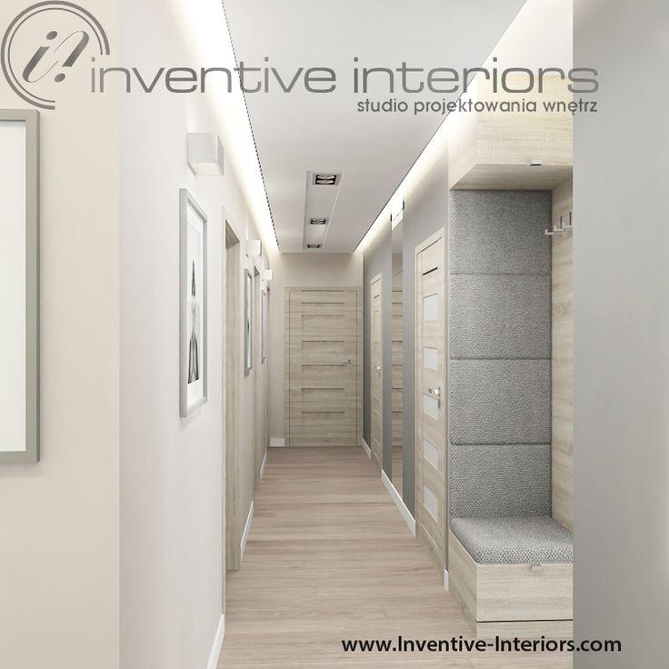 Projekt korytarza Inventive Interiors - beżowy nowoczesny korytarz