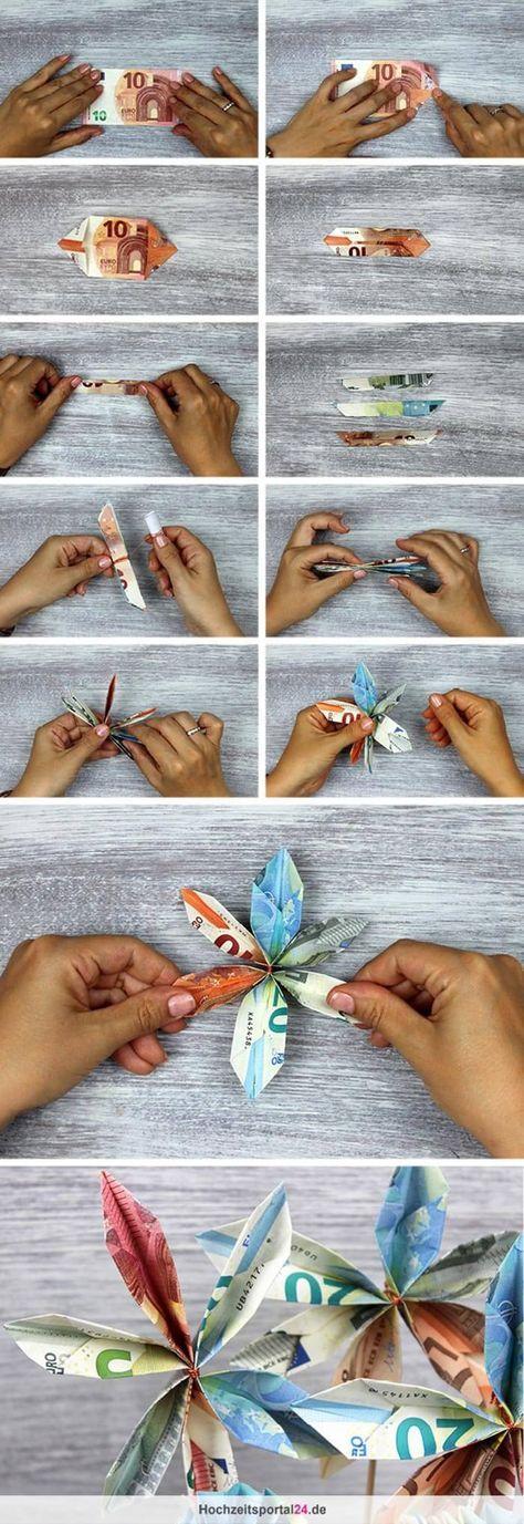 Geldscheine falten zur Geldblume - mit Schritt-für-Schritt Anleitung.