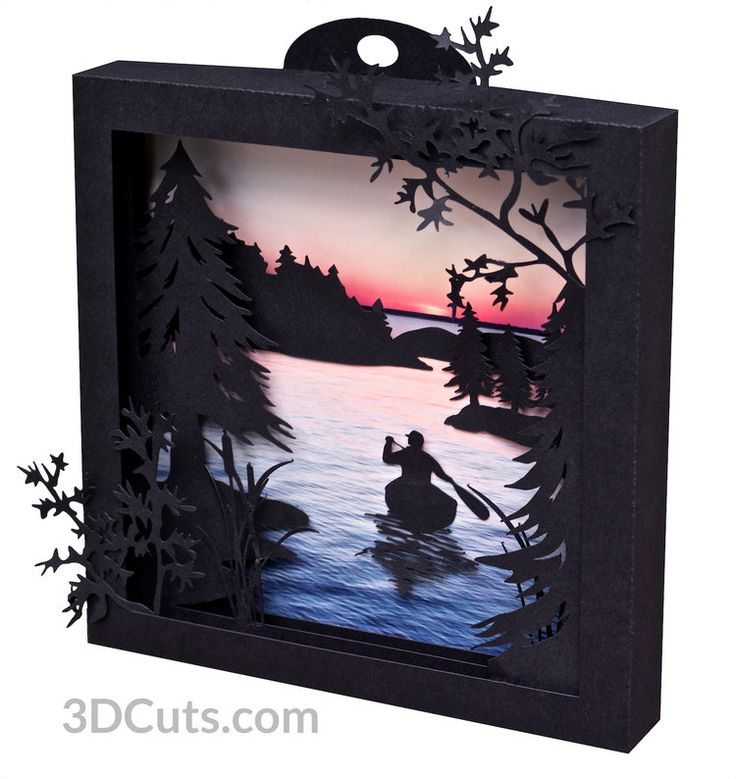 Canoe at Sunrise Shadow Box in card stock by Marji Roy of 3dcuts.com. Cutting files in svg, pdf, png and dxf formats for Silhouette, Cricut and other cutting machines