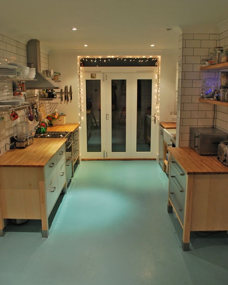 Lovely Poured Resin Floor RAL 6034, Ikea Varde Units, Ikea Grundtal Shelving,  Metro Tiles