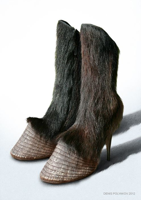 Hoof boots, zipper side, polymer, leather, goat fur, stiletto.  Created by ©DenisPolyakov.
