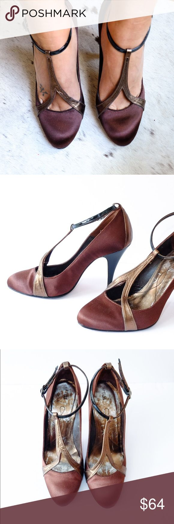 REISS Satin Bronze Ankle Strap Pumps Brown/Bronze satin pumps from REISS with black patent ankle strap. Similar to a Mary Jane style. Wear is mainly the fading color on the inside, but shoes aren't damaged, only worn a few times. Saron exterior in great shape, no rips or tears. Scuff on soles, no box. Heel is 3-4in. Reiss Shoes Heels