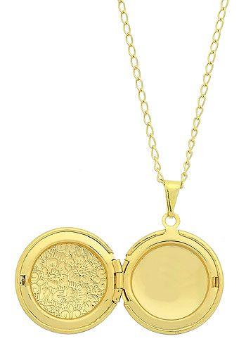 Gargantilha folheada a ouro c/ pingente relicário em formato redondo