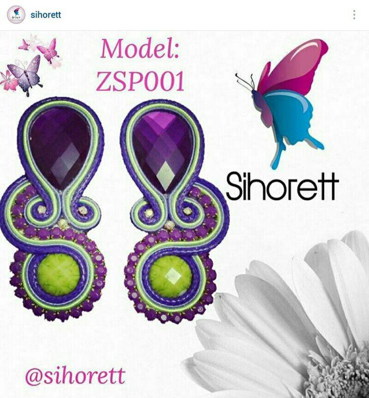 Zarcillos soutache en tonos morado, verde manzana y lila #Sihorett  #Soutache  #Earrings  #Zarcillos  #fashion  #moda  #new  #modern  #chic #accesories #jewelry