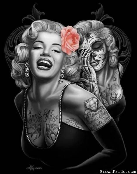 Marilyn Monroe Day of the Dead Art love this I want this as a tat but only the day of the dead one