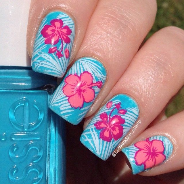 Blue and Coral Hawaii Inspired Nails With Hibiscus Flowers