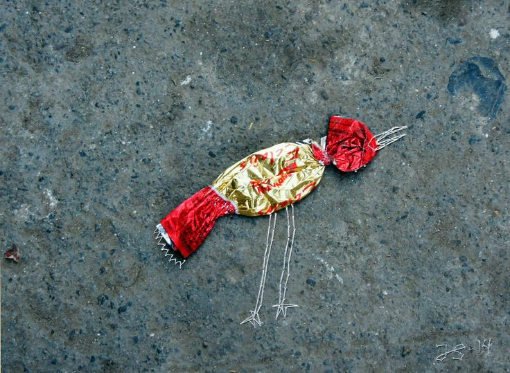"""Julie Skarland """"Crimson Finch """" 2014, embroidery on photography"""