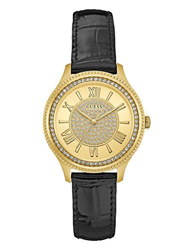 GUESS Womens U0840L1 Dressy GoldTone Watch with Gold Dial  CrystalAccented Bezel...