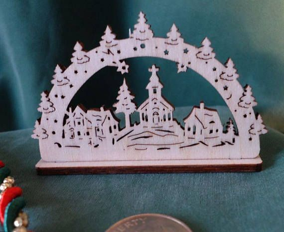 Miniature Schwibbogen Erzgebirge Germany Country Church and