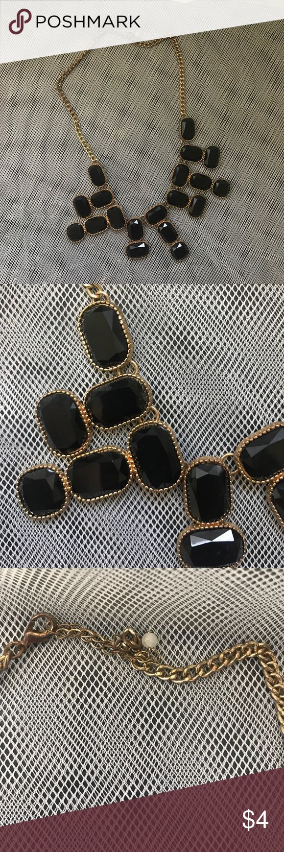 Statement necklace Black statement necklace with gold chain Jewelry Necklaces