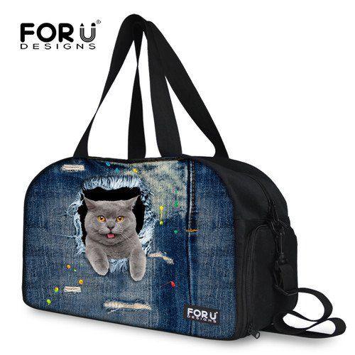 3D Cats Large Capacity Women Gym Bag Fitness Handbag Yoga Pack Traveling