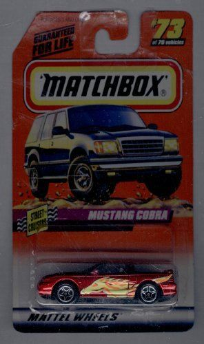 Matchbox 1998-73 of 75 Series10 Street Cruisere Mustang Cobra 1:64 Scale by Mattel. $1.00. Mustang Cobra. Matchbox Mustang Cobra #73-75