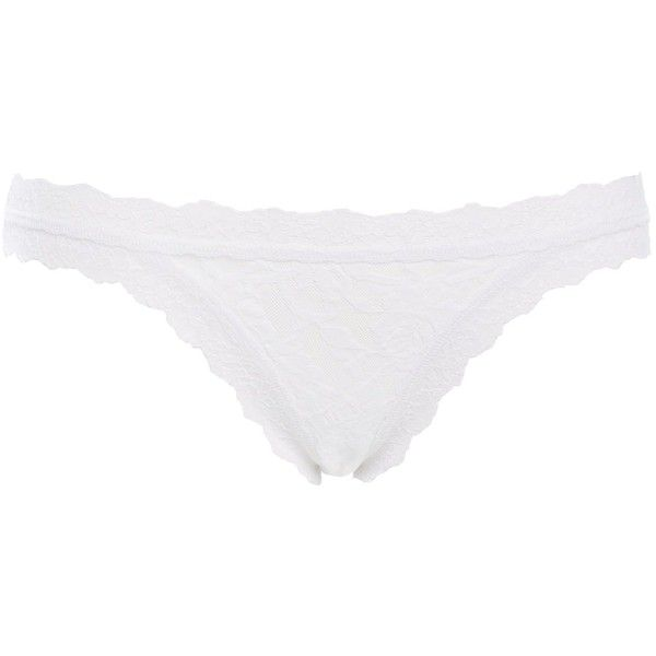 Hanky Panky Signature lace bikini brief ($42) ❤ liked on Polyvore featuring intimates, panties, white, women, lace bikini bottoms, swim bikini bottoms, hanky panky and white bikini bottoms