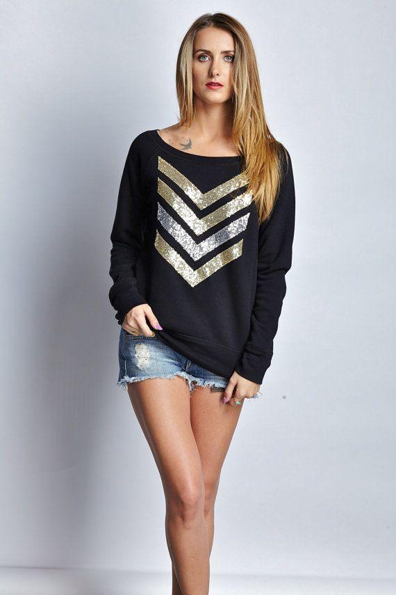 Sequin Chevron Arrow Design Black Sweatshirt  The Dazzle Me Chevron Shirt  Holiday Fashion Liam Payne Tattoo 1D  Available in Plus Sizes