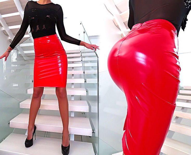 ROCK ROT LACK LEDER OPTIK ITALY U14 LEATHER LOOK STRETCH Damen NEU Skirt RED M