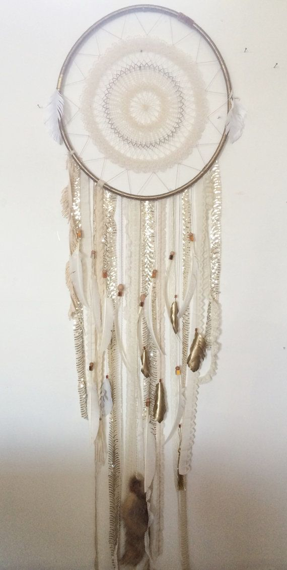 Huge Gold & White Sparkly DreamCatcher with White Feathers and Fur Tail by Rachael Rice