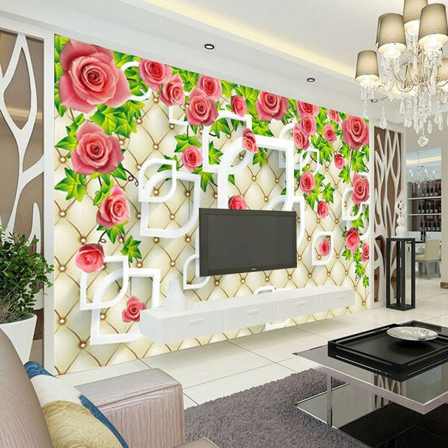 Romantic rose photo wallpaper 3d wallpaper bedroom ceiling for 3d rose wallpaper for bedroom