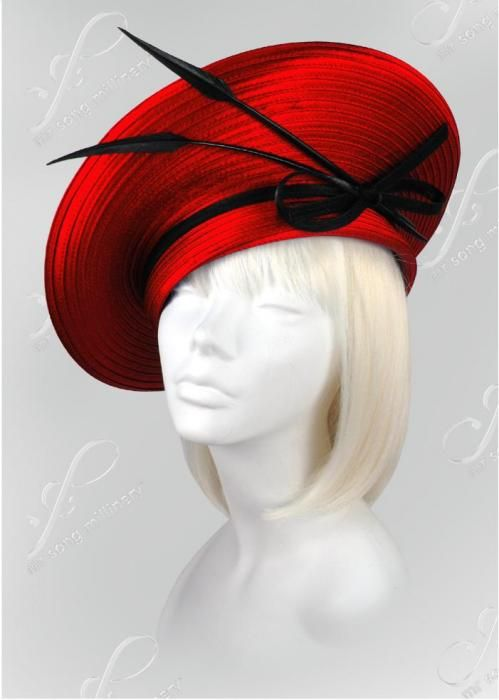 Feathered Church Hats - L49 - Church Hats Collection - 1001 Church Hats #millinery #beret #judithm