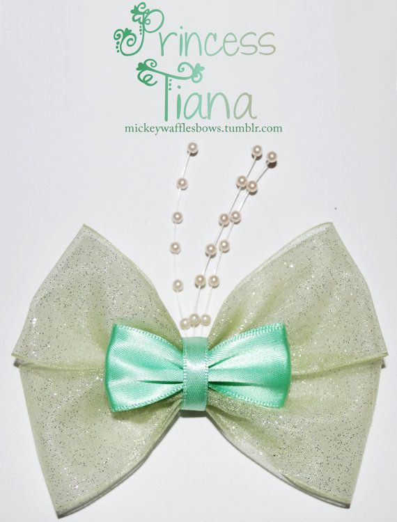 A medium (approx. 4 inches) hair bow inspired by Princess Tiana from Disneys The Princess and the Frog. Choose your clip type using the drop