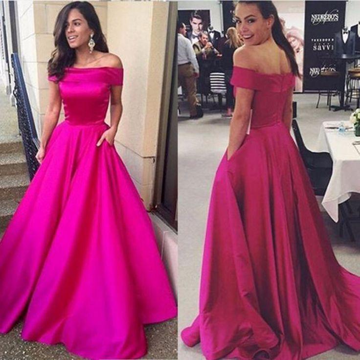 Elegant Simple Boat Neck Fuchsia Ball Gown Evening Dresses 2016 !Beautiful evening dress,Girls evening dress,Satin evening dress,Cheap evening dress