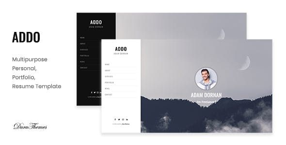 Addo Multipurpose Personal Portfolio And Resume Template Nulled Free Download Personal Website Templates Resume Template Resume Template Free